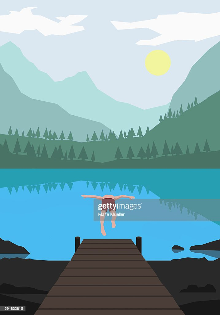 Illustration of man diving into lake against mountains : stock illustration