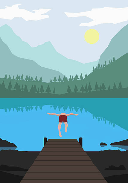 Illustration of man diving into lake against mountains