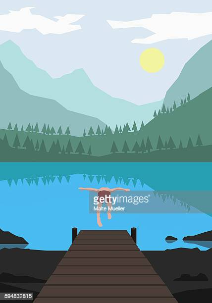 illustration of man diving into lake against mountains - silence stock illustrations