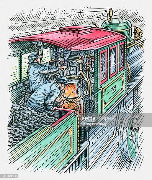 illustration of man driving train as another stokes the engine - stoking stock illustrations