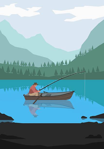 Illustration of man fishing in lake against mountains