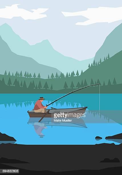 illustration of man fishing in lake against mountains - lakeshore stock illustrations