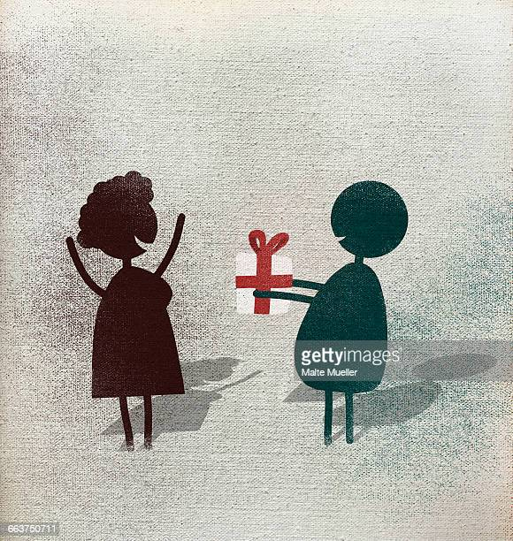 illustration of man giving gift box to happy woman against white background - giving stock illustrations