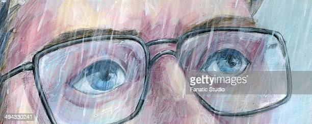 illustration of man in glasses looking away in rainy season - rainy season stock illustrations, clip art, cartoons, & icons