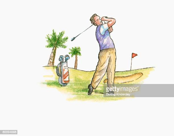 illustration of man on golf course swinging golf club behind head - sand trap stock illustrations, clip art, cartoons, & icons