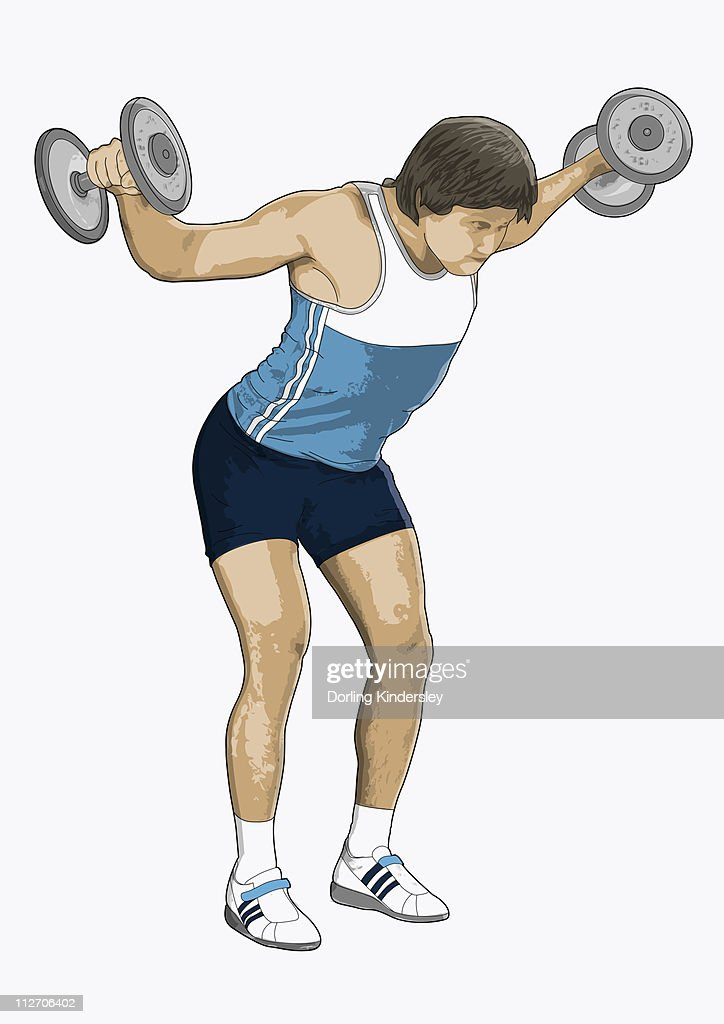 illustration of man performing rear lateral raise using dumbbells