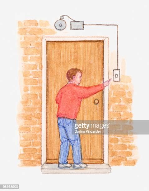 Illustration of man pressing electromagnetic doorbell