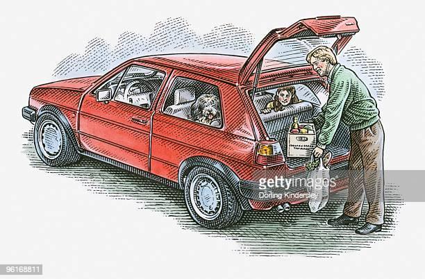illustration of man putting groceries in hatchback car - hatchback stock illustrations, clip art, cartoons, & icons