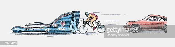 illustration of man reaching high speed on bicycle in slipstream of vehicle - obscured face stock illustrations, clip art, cartoons, & icons