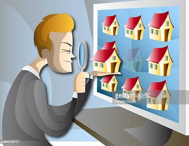 illustration of man searching home online - spending money stock illustrations, clip art, cartoons, & icons