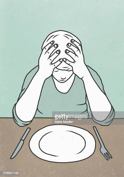 illustration of man sitting with head in hands at dining table - ストレス点のイラスト素材/クリップアート素材/マンガ素材/アイコン素材