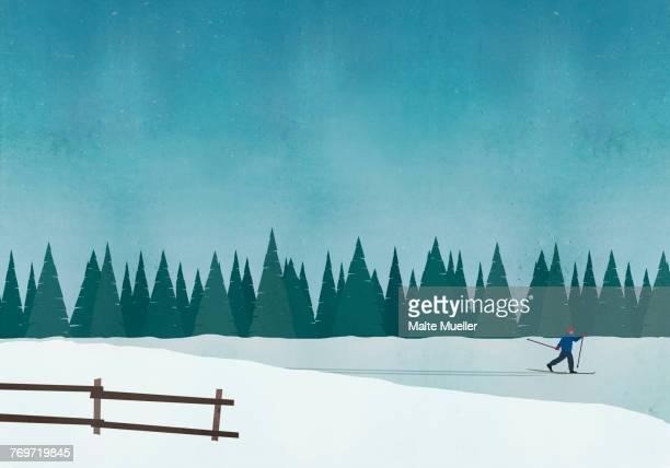 illustration of man skiing against blue sky - day stock illustrations