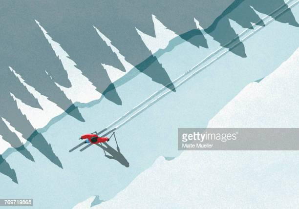 illustration of man skiing during winter on sunny day - illustration technique stock illustrations