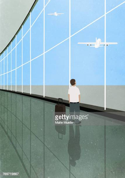 Illustration of man standing by luggage at departure area while looking at airplane flying against s