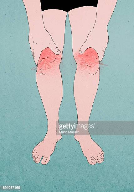 Illustration of man suffering from knee pain against colored background