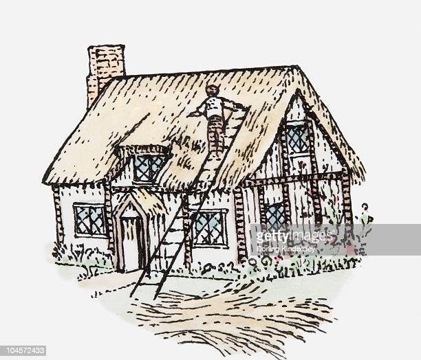 Illustration of man thatching cottage roof
