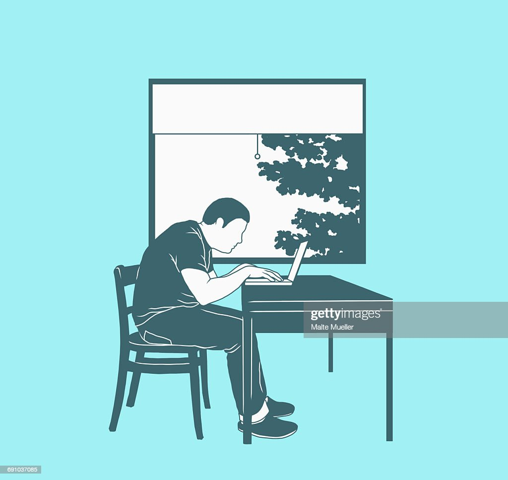 Illustration of man using laptop against window representing working at home : stock illustration