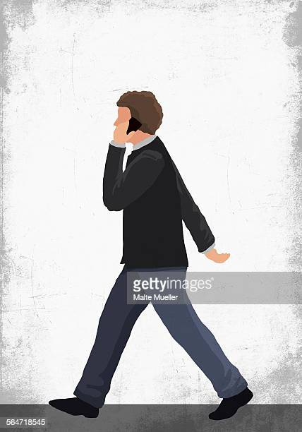 Illustration of man using mobile phone while walking on street against white wall