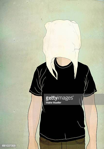 Illustration of man wearing shopping bag on face against colored background representing hiding ide