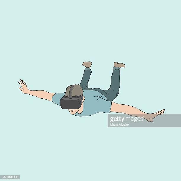 ilustraciones, imágenes clip art, dibujos animados e iconos de stock de illustration of man wearing virtual reality headset falling against colored background - encuadre de cuerpo entero