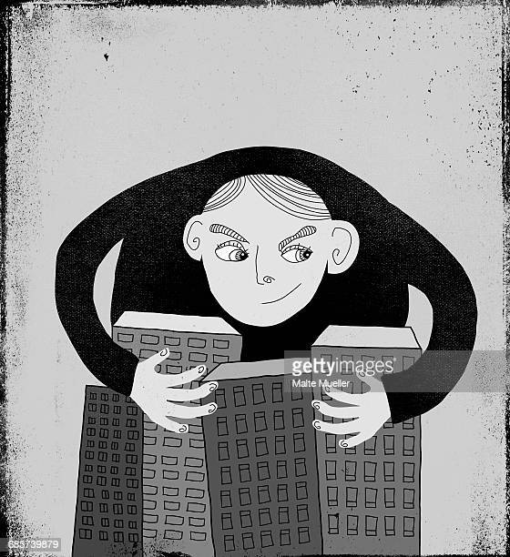 illustration of man with arms around buildings - embracing stock illustrations