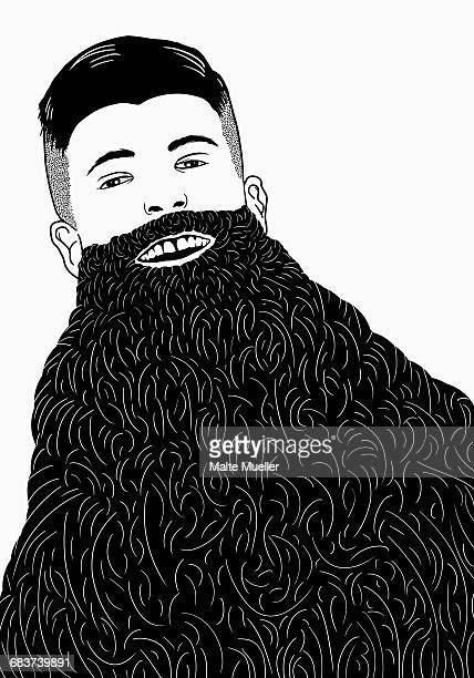 ilustrações de stock, clip art, desenhos animados e ícones de illustration of man with long beard against white background - bigode
