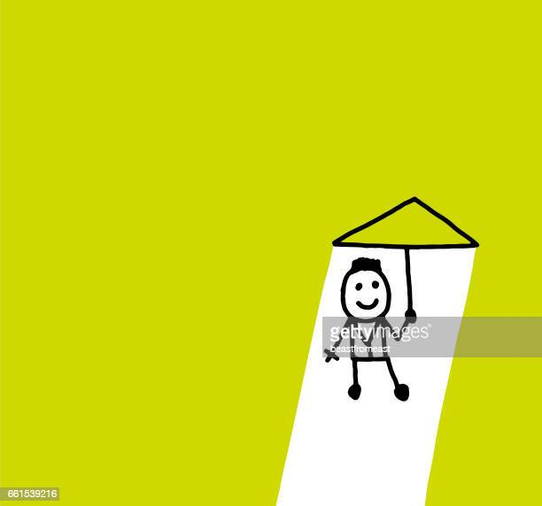 Illustration of man with umbrella in the sun looking happy