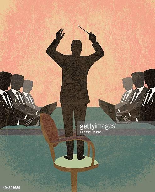 ilustraciones, imágenes clip art, dibujos animados e iconos de stock de illustration of manager giving instructions - director de orquesta