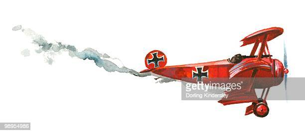 Illustration of Manfred von Richthofen's bright red Fokker Dr.I triplane falling from sky