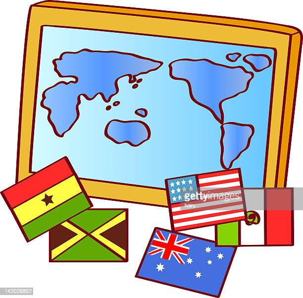 illustration of map and national flags - ghana flag stock illustrations, clip art, cartoons, & icons