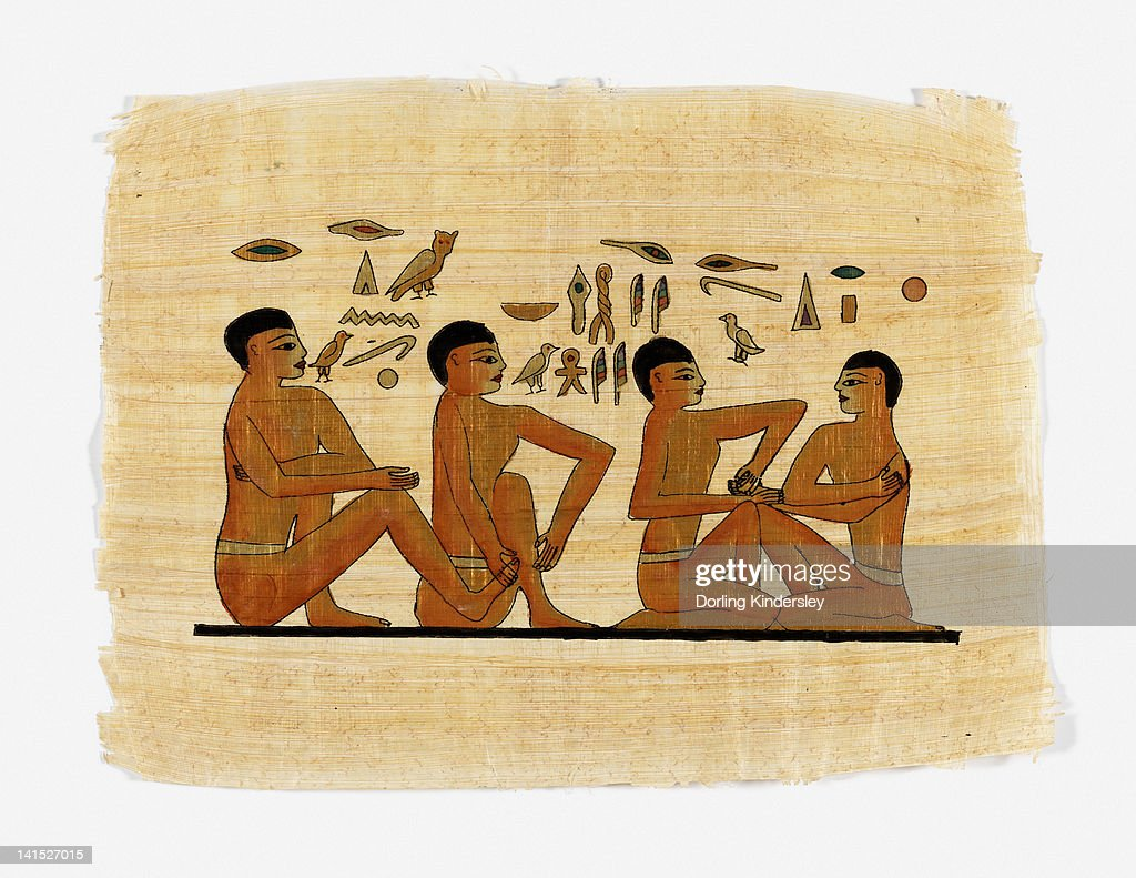 Illustration of massaging of hands and feet from the Physician's Tomb, Saqqara, Egypt, 2300BC : stock illustration