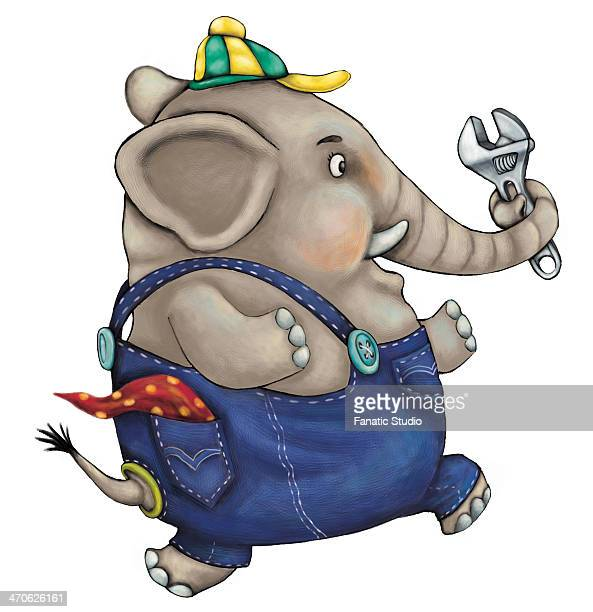Illustration of mechanic elephant holding adjustable wrench while running over white background