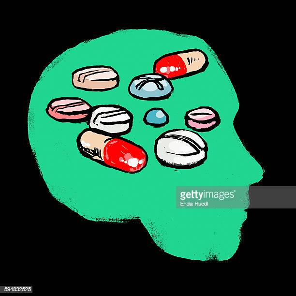 illustration of medicines in human head against black background - nutritional supplement stock illustrations, clip art, cartoons, & icons