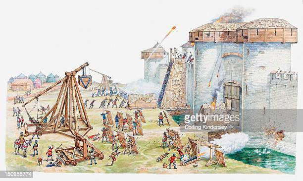 Illustration of medieval castle under siege and being attacked by enemy