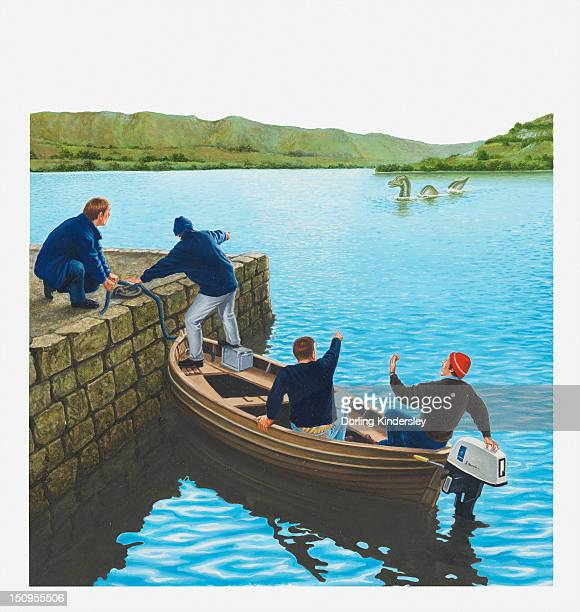 ilustraciones, imágenes clip art, dibujos animados e iconos de stock de illustration of men in boat and at water's edge pointing at the loch ness monster - monstruo del lago ness