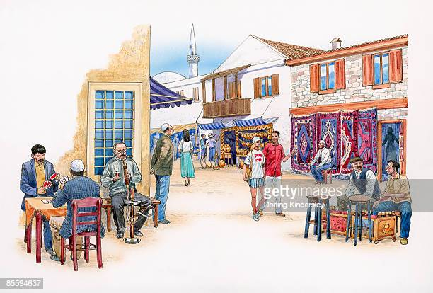 illustration of men playing cards and smoking hookah pipe at traditional pavement cafe in colourful turkish town  - hookah stock illustrations, clip art, cartoons, & icons