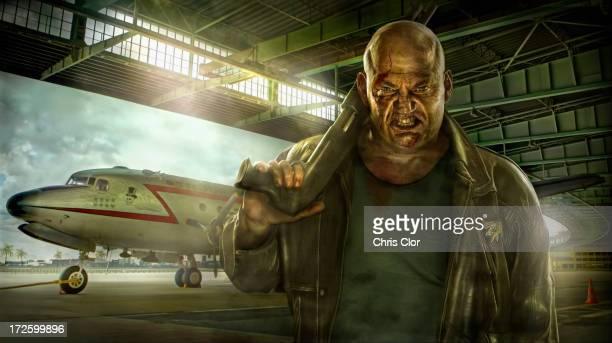 illustration of mixed race man holding gun in airplane hangar - 45 49 years stock illustrations, clip art, cartoons, & icons