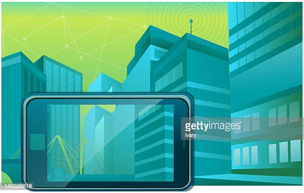 illustration of mobile phone with buildings in background - electronic organizer stock illustrations, clip art, cartoons, & icons