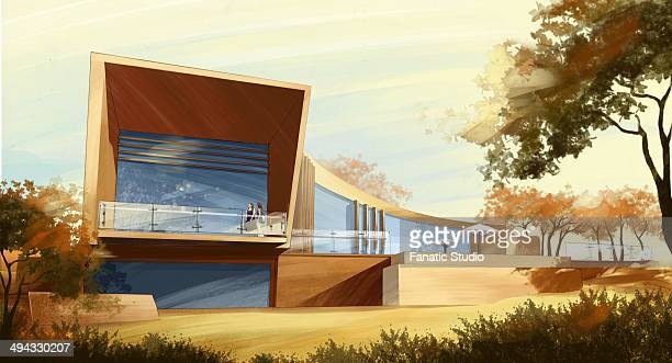 illustration of modern building - country club stock illustrations, clip art, cartoons, & icons