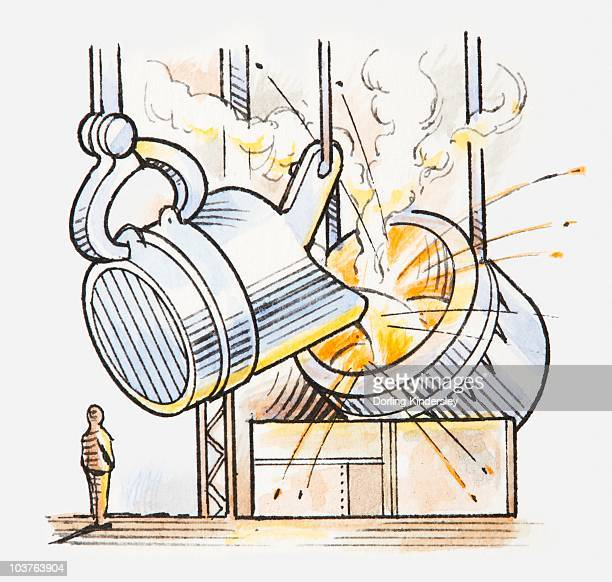 illustration of molten metal being poured into furnace - molten stock illustrations, clip art, cartoons, & icons