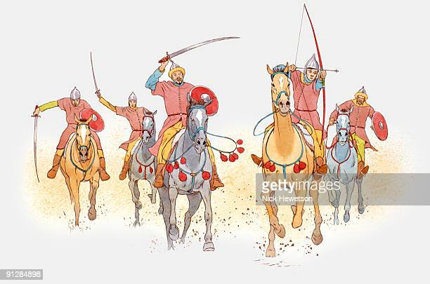 illustration of mongol cavalry charging on horseback holding swords aloft and aiming arrows - animals charging stock illustrations, clip art, cartoons, & icons