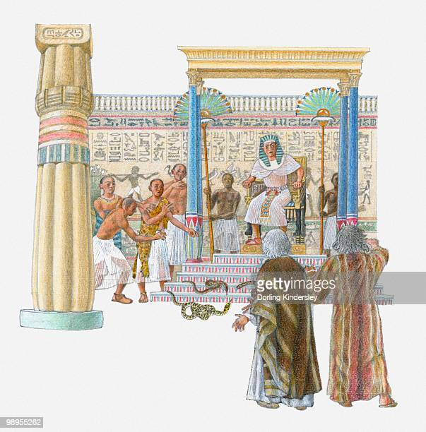 ilustrações, clipart, desenhos animados e ícones de illustration of moses and aaron standing in front of pharaoh and the royal magicians - roupa tradicional