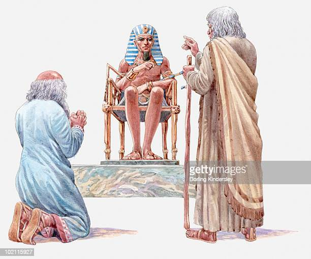 illustration of moses and aaron talking to pharaoh, asking him to release the isrealites, book of exodus - 宗教的人物 モーゼ点のイラスト素材/クリップアート素材/マンガ素材/アイコン素材