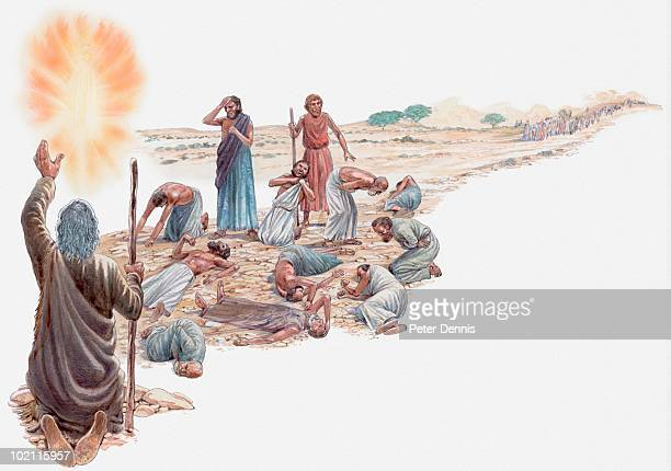 ilustrações, clipart, desenhos animados e ícones de illustration of moses talking to god after israelites have rejected the promised land, men struck dead on ground, only joshua and caleb are spared, book of numbers - livro de orações