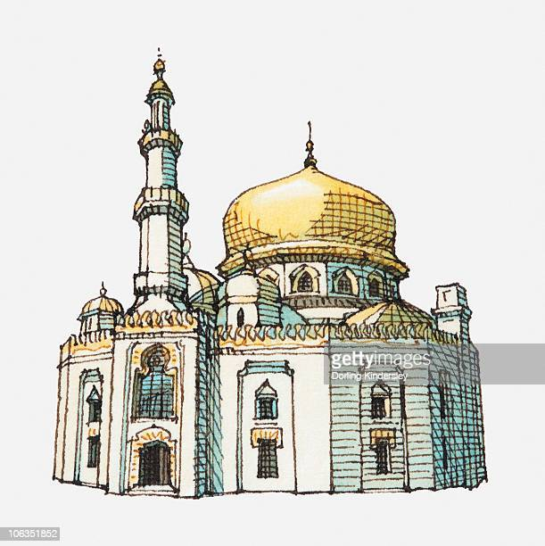 illustration of mosque with gold onion dome and minaret - onion dome stock illustrations, clip art, cartoons, & icons