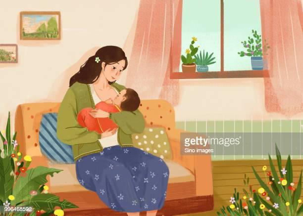 ilustraciones, imágenes clip art, dibujos animados e iconos de stock de illustration of mother breastfeeding baby at home - lactancia materna