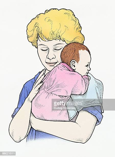Illustration of mother gently winding baby