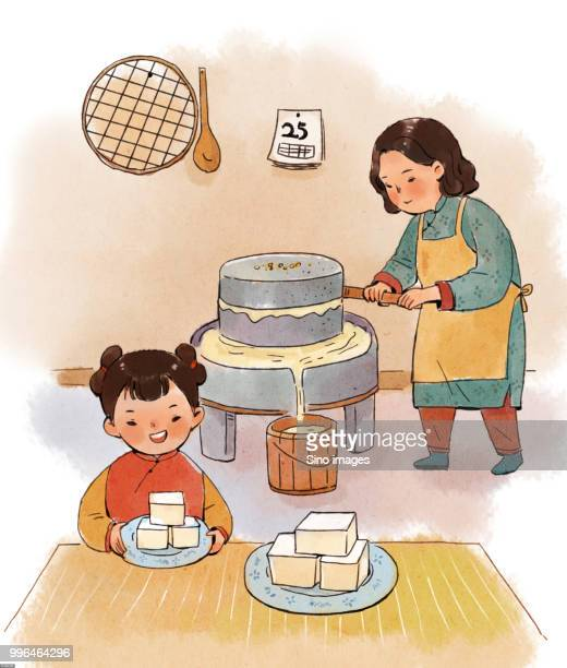 Illustration of mother making soy milk with traditional Chinese tool