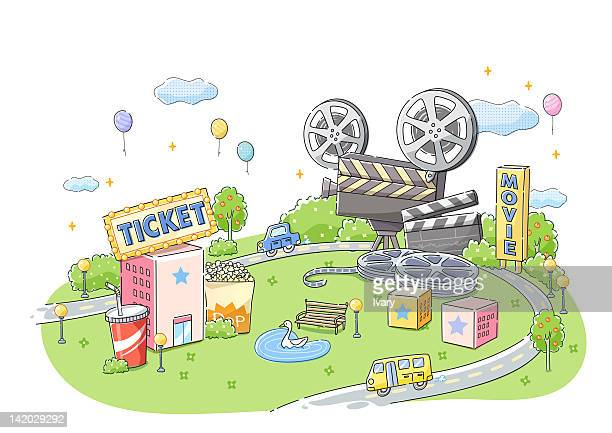 Illustration of movie theatre and film projector