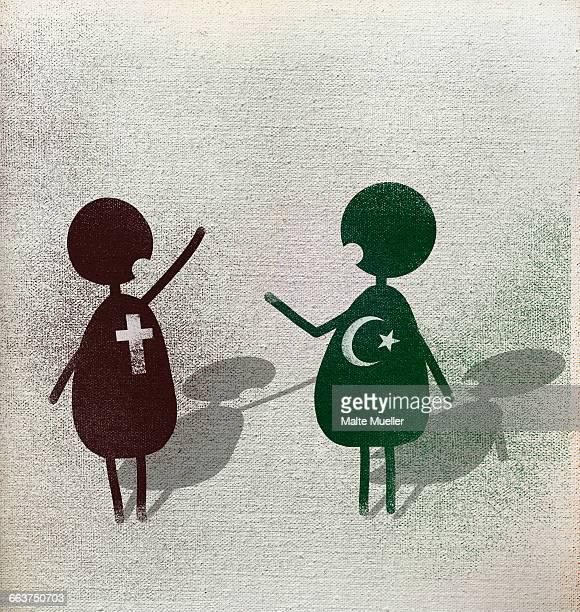 Illustration of multi religion men talking against white background
